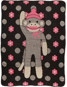 Child / Junior Throw Blanket - Flower Sock Monkey