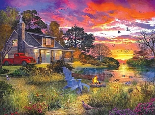 Evening Cabin 1000  Pc. Jigsaw Puzzle