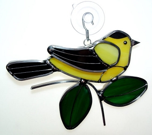 Stained Glass Ornament - Goldfinch