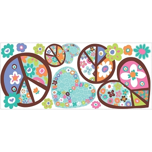 Hearts and Peace Signs Giant Wall Decals