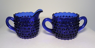Cobalt Blue Hobnail Creamer and Sugar Bowl