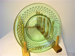 Green Glass Hobnail Plate - 8 Inch