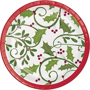 HOLIDAY HOLLY DESSERT PAPER PLATES