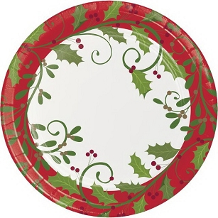 HOLIDAY HOLLY DINNER PAPER PLATES