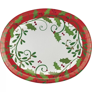 HOLIDAY HOLLY OVAL PAPER PLATES