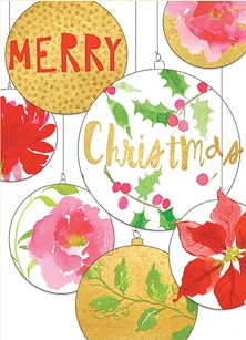 Merry Christmas Baubles Boxed Cards