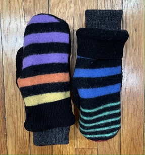 Multi Color Stripe & Black Recycled Mittens