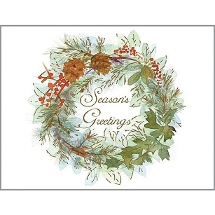 PINECONE & LEAVES WREATH BOXED CARDS