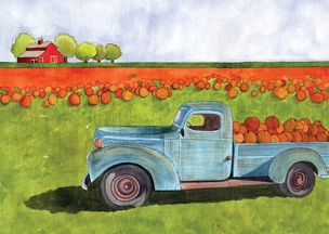 Pumpkin Truck Greeting Card