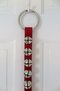 Red Leather Strap - 9 Nickel Sleigh Bells