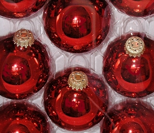 Christmas Red Shiny Glass Ornaments