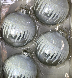 Silver Midas with Icicles Glass Ornaments