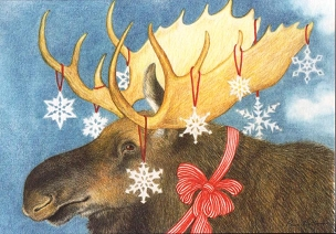Snowflake Moose-Boxed Holiday Cards