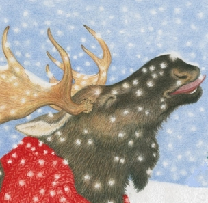 Snowy Moose-Boxed Holiday Cards