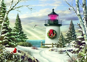 Spirit of Christmas Lighthouse Boxed Cards