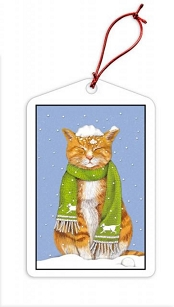 Tabby in Snow Holiday Gift Tags