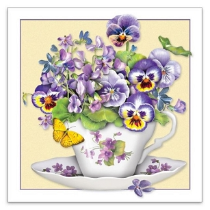 Teacup with Violas Gift Enclosure