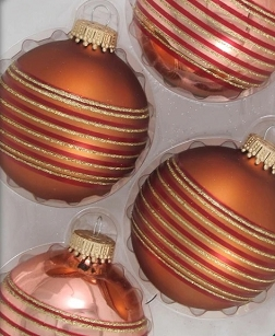 Brown Gold Shine with Thin Stripes Glass Ornaments
