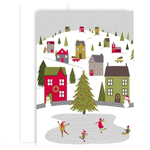 Whimsical Village Holiday Boxed Cards