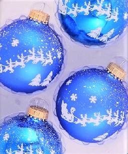 Classic Blue Shine Christmas Eve Glass Ornaments