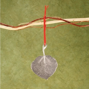 Pewter Aspen Leaf Ornament