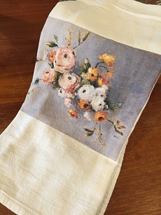 Blush and Yellow Floral Tea Towel