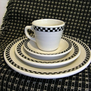 Black Checker China Salad Plate / Dish