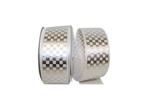 Checkmate White & Silver Ribbon - 1 3/8