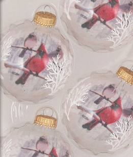 Cardinals Clear Glass Ornament