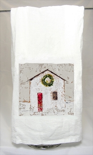 Cottage with Wreath Tea Towel
