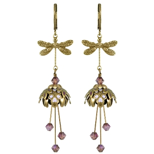 Dragonfly's Respite Earrings - Plum