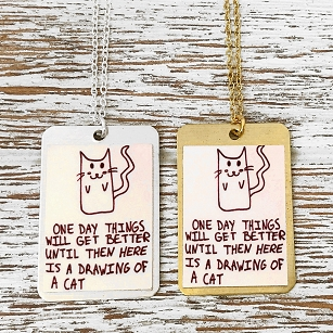Drawing Of Cat - Dog Tag Necklace