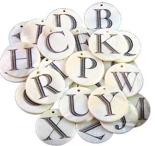 Mother of Pearl Alphabet Charms