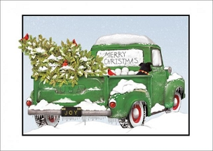 Green Truck Christmas Boxed Cards