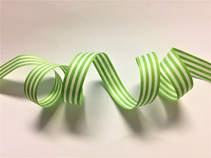 Lime & White Stripe Cotton Curling Ribbon