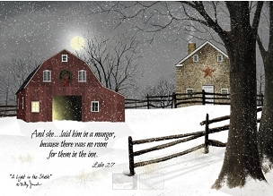 Laid in a Manger Snowy Barn Boxed Christmas Cards