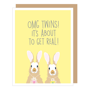 Rabbit Twins New Baby Card