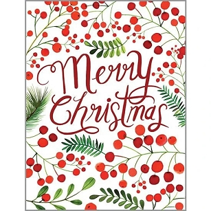 RED CHRISTMAS BERRIES BOXED CARDS