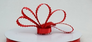 Red Satin Picot Ribbon 3/8