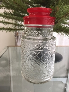 Vintage Glass Jar Red Lid