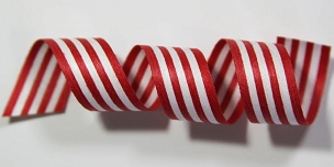 Red & White Stripe Cotton Curling Ribbon
