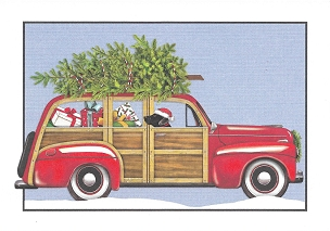 Retro Wagon Christmas Boxed Cards