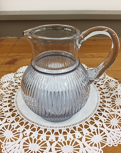 Vintage Ribbed Glass Pitcher
