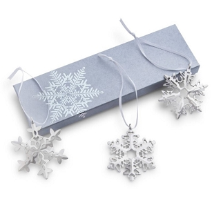 Pewter Snowflake Trio Ornament Set