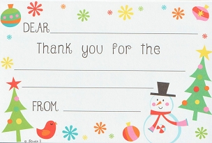 SNOWMAN & TREES Kid Thank