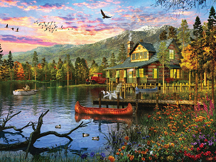 Sunset Cabin 550 Pc. Jigsaw Puzzle