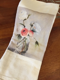 White and Pink Roses Tea Towel