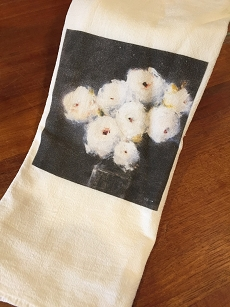 White Flowers Tea Towel