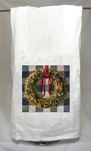 Wreath on Buffalo Check Tea Towel