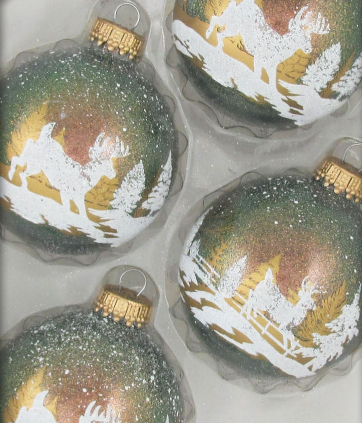 Winter Deer Scene Glass Ornament